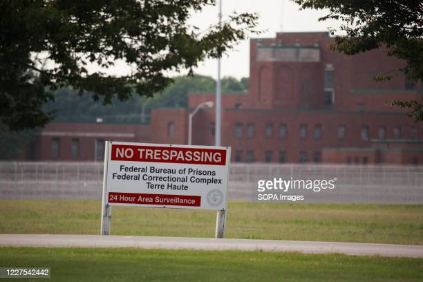 View of a sign outside the Terre Haute Federal Correctional Complex where death row inmate Wesley Ira Purkey was scheduled to be executed by lethal...