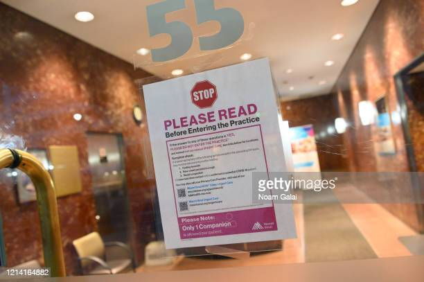 View of a sign posted outside Mount Sinai in Murray Hill as the coronavirus continues to spread across the United States on March 22, 2020 in New...