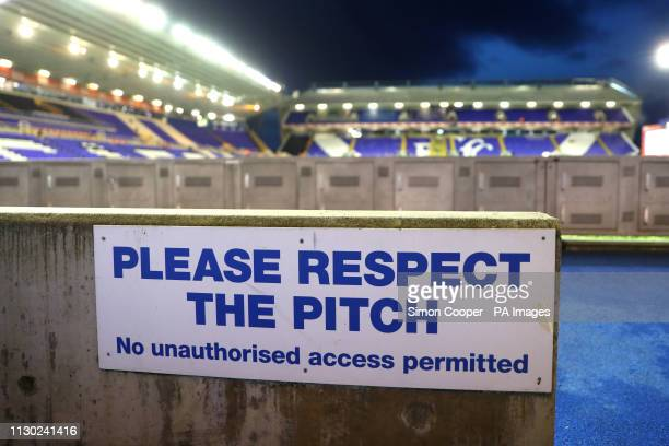 A view of a sign that reads 'Please respect the pitch' during the Sky Bet Championship match at St Andrew's Trillion Trophy Stadium Birmingham
