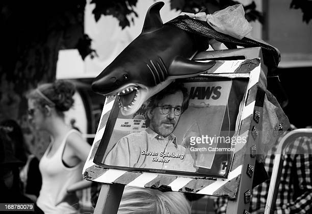 A view of a sign with a picture jury president Steven Spielberg on it during the 66th Annual Cannes Film Festival on May 15 2013 in Cannes France