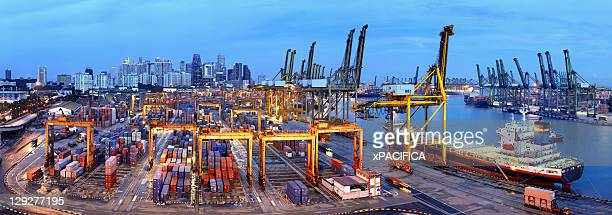 A view of a Singapore Container Terminal