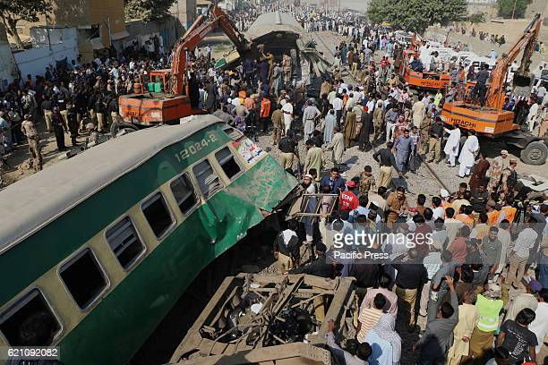 A view of a site of the train accident in Karachi At least 22 people died and over 90 injured when two passenger trains collided near Karachi's...