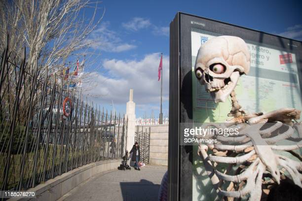 View of a skeleton at the COP25 entrance during the demonstration. There was a spontaneous saucepan protest at the entrance of COP25 where climate...