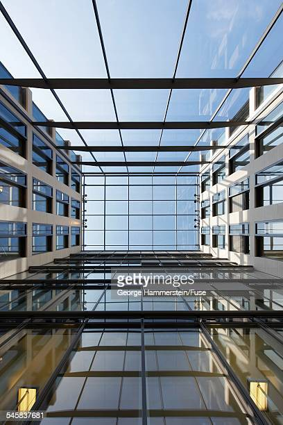 View of a skylight at the top of an office atrium