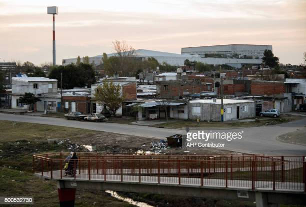 View of a slum in Rosario Santa Fe Argentina on June 23 located behind the venue where Barcelona's football star Lionel Messi of Argentina and...