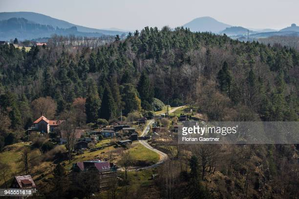 View of a small garden settlement in the middle of a forest in Saxon Switzerland on April 07 2018 in Rathen Germany