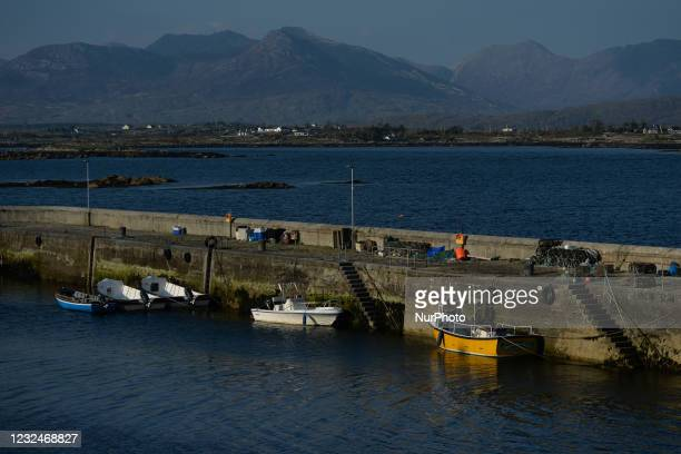 View of a small harbour in Roundstone, in Co. Galway. On Thursday, 22 April 2021, in Roundstone, Connemara, County Galway, Ireland.
