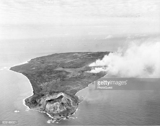 View of a smoke cloud on the second day of naval and air bombardment on Iwo Jima February 17 1945 The photo was taken by a plane from the USS Makin...