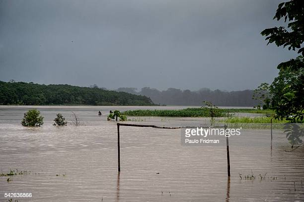 A view of a soccer field flooded by the waters of Rio Purus river near Santo Elias Village