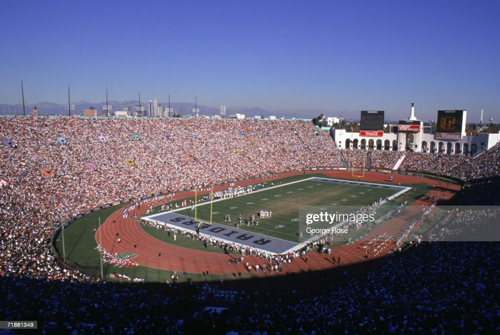 View of a sold out Los Angeles Memorial Coliseum as the Los Angeles Raiders host the Denver Broncos on December 3, 1989 in Los Angeles, California. The Raiders won 16-13 in overtime.