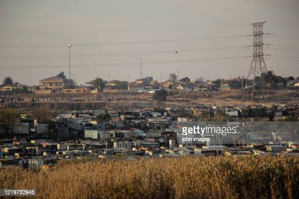 view of a south african township in soweto - racism stock pictures, royalty-free photos & images