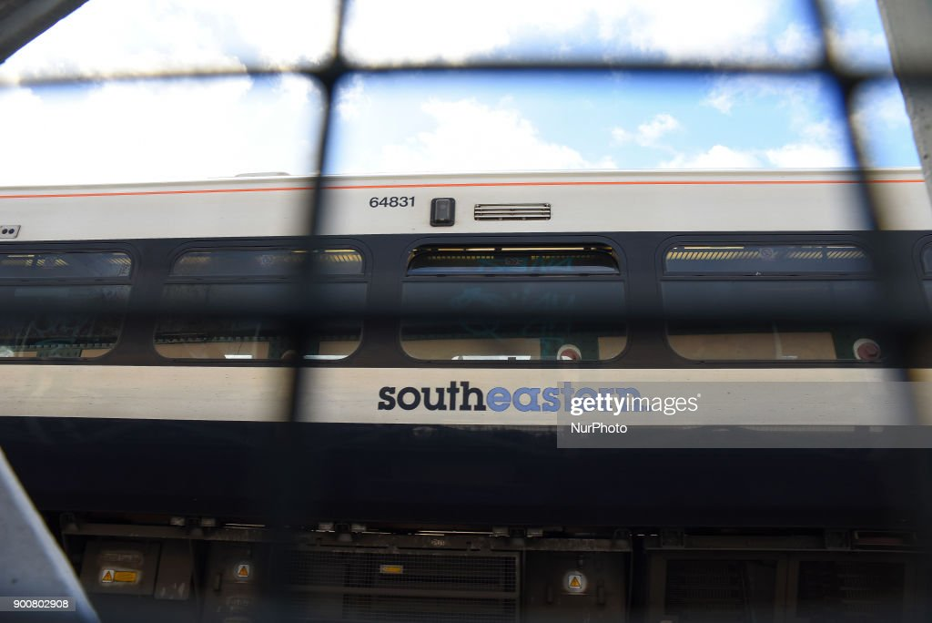 View of a Southeastern train as it makes its way to Charing Cros Station, London on January 3, 2018. Train strikes are looming in the new year as rail workers plan a series of 24-hour walkouts in the long-running row over the role of guards. RMT members at five operators will walk out on 8, 10 and 12 January. Workers at Southern will strike on 8 January.