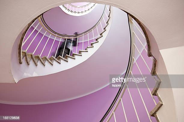view of a spiral staircase from the bottom - steep stock photos and pictures