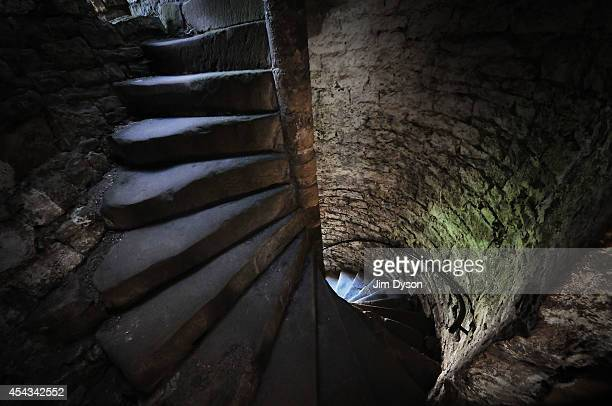 A view of a spiral staircase in Chepstow Castle on August 17 2014 in Chepstow Wales Construction on Chepstow Castle began in 1067 following the...