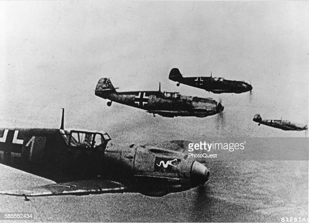 View of a squadron of German Messerschmitt Bf 109 fighters in flight over the English Channel, circa 1940.