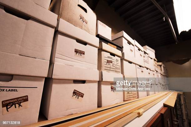 A view of a stack of boxes containing the Pix Collection in the Michael Ochs Archives on May 10 2018 in Los Angeles California