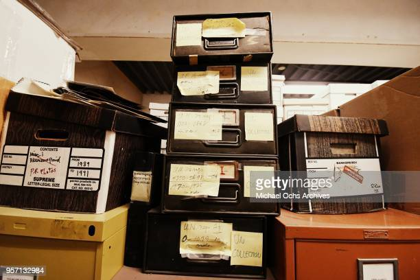 A view of a stack of file boxes containng the UN Collection in the Michael Ochs Archives on May 10 2018 in Los Angeles California