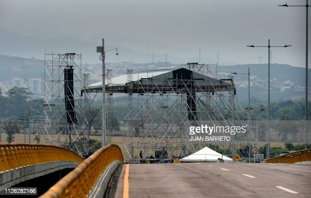 View of a stage where a concert will take place on Saturday 23 in Cucuta Colombia as seen from Urena Venezuela on February 20 2019 Nicolas Maduro's...