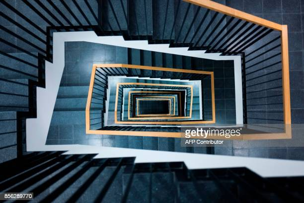 View of a stairwell located in the newlyrenovated Indendanz building next to Berlin's Staatsoper on October 1 prior to its official reopening on...