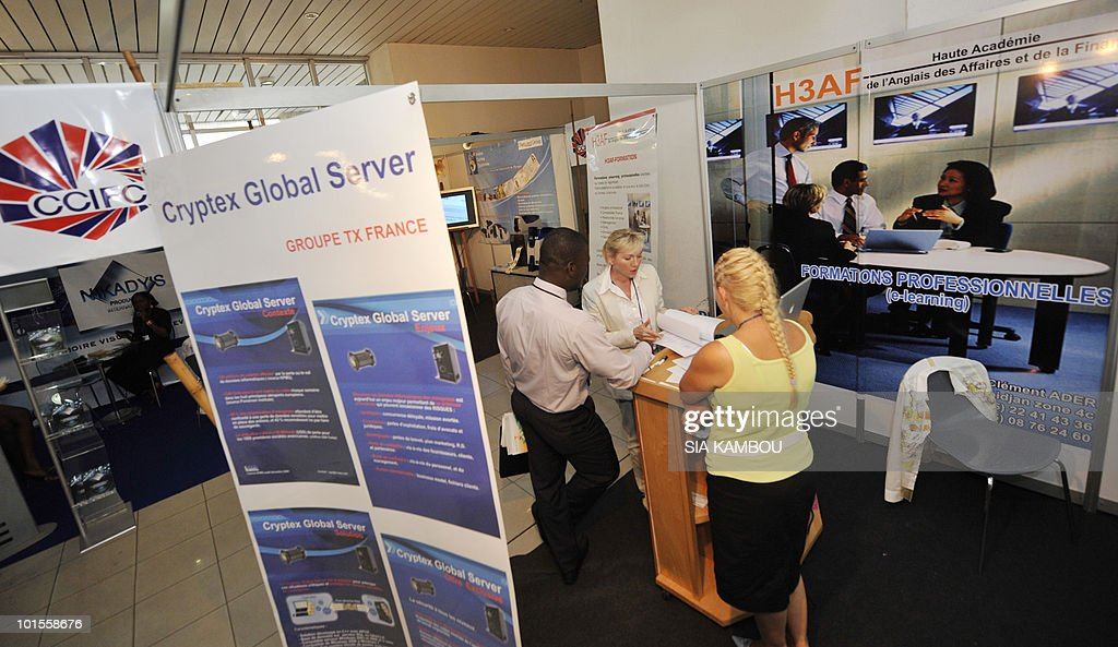 View of a stall showcasing French products and services at the French pavillon during a trade show held in the framework of the 11th edition of the Technical and Communication Fair held at the Culture showroom in Abidjan on June02, 2010. AFP PHOTO SIA