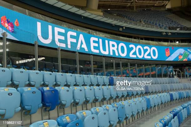 A view of a stand of the Saint Petersburg Stadium on February 4 2020 Russia's Saint Petersburg is one of 12 locations across Europe scheduled to host...