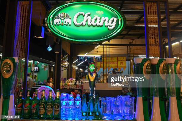 View of a stand with Chang beer for sale in a local night market in Chiang Mai. On Wednesday, June 13 in Chiang Mai, Thailand.