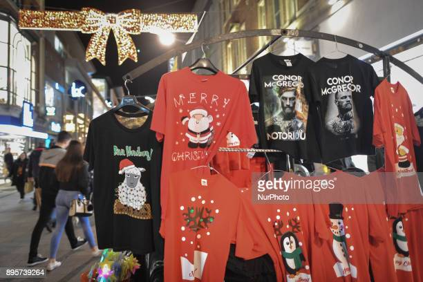 View of a stand with Christmas jumpers for sale seen on Dublin's Henry Street, just a few days ahead of Christmas. On Tuesday, 19 December 2017, in...