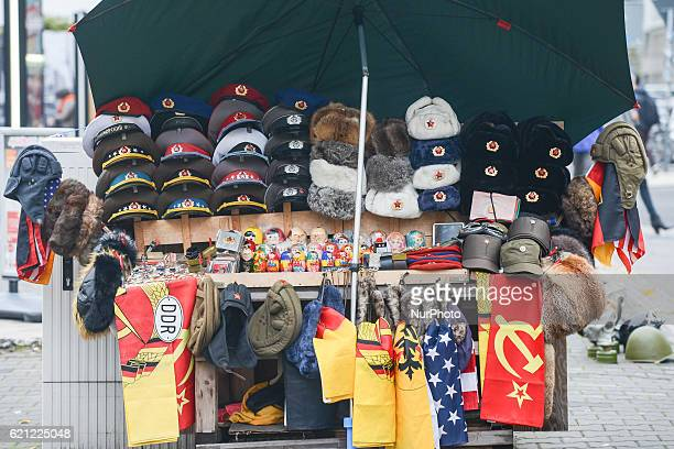 A view of a stand with the Cold War/DDR era memorabilia for sale for tourists On Wednesday 26 October 2016 in Berlin Germany