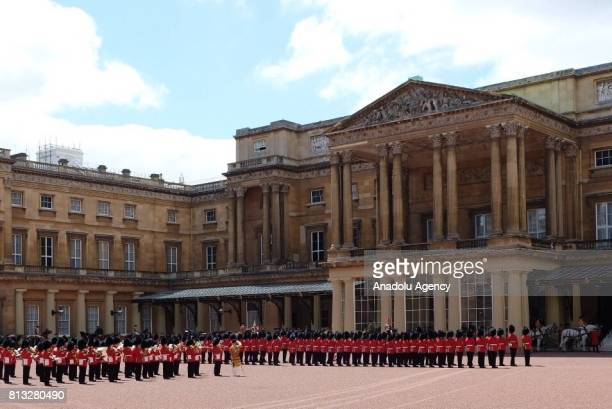 A view of a state ceremony upon Spain's King Felipe VI and Queen Letizia's arrival at Buckingham Palace in London United Kingdom on July 12 2017...