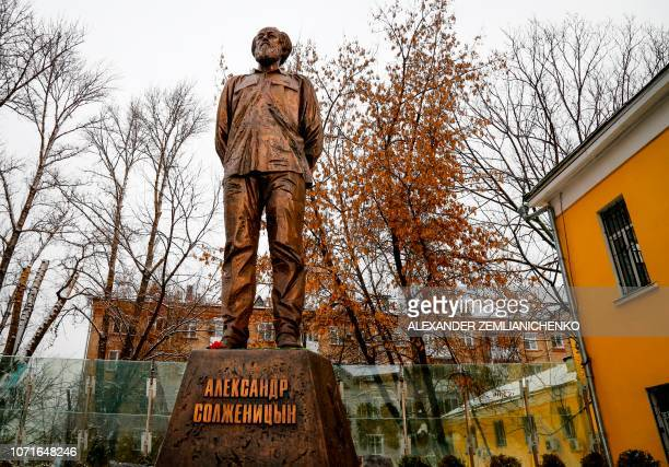 A view of a statue of Russian writer and dissident Alexander Solzhenitsyn during its unveiling ceremony in Moscow on December 11 2018 December 11...