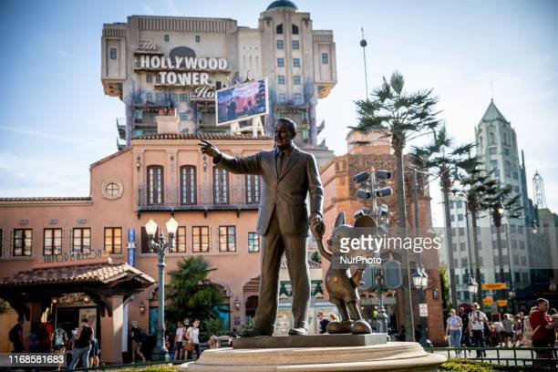 View of a status Walter Elias Disney with Mickey Mouse at Walt Disney Studios Park in Disneyland Paris, in Paris, France, on September 14, 2019....
