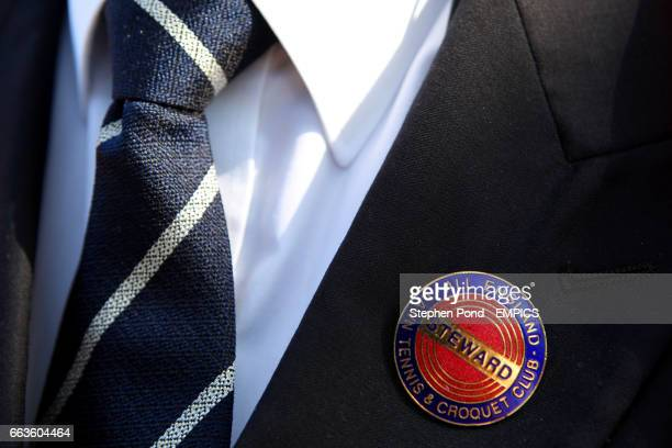 A view of a stewards jacket and pin badge during day 3 of the 2009 Wimbledon Championships at the All England Lawn Tennis and Croquet Club Wimbledon...