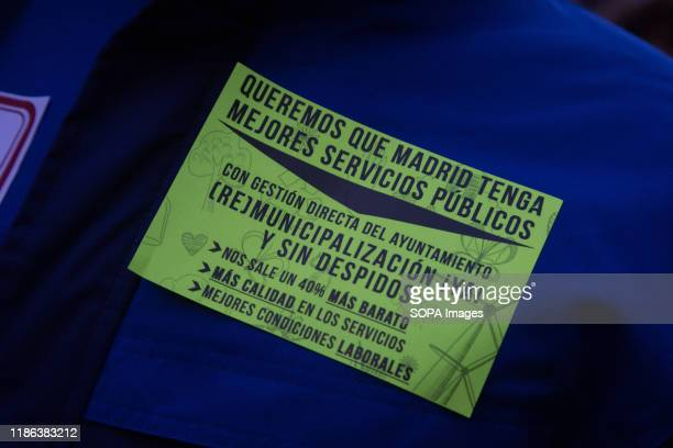 View of a Sticker demands the remunicipalisation of the EMT during the demonstration. EMT workers protest supported by Metro and taxi workers. The...