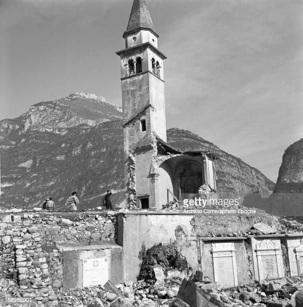 View of a stillstanding belltower amidst the rubble Longarone near the Vajont Dam in the Piave Valley Italy early October 1963 On October 9 a...