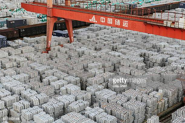 A view of a stockyard filled with aluminum ingots in Wuxi Jiangsu Province China on 26 September 2013 China is faced with an over capacity in its...