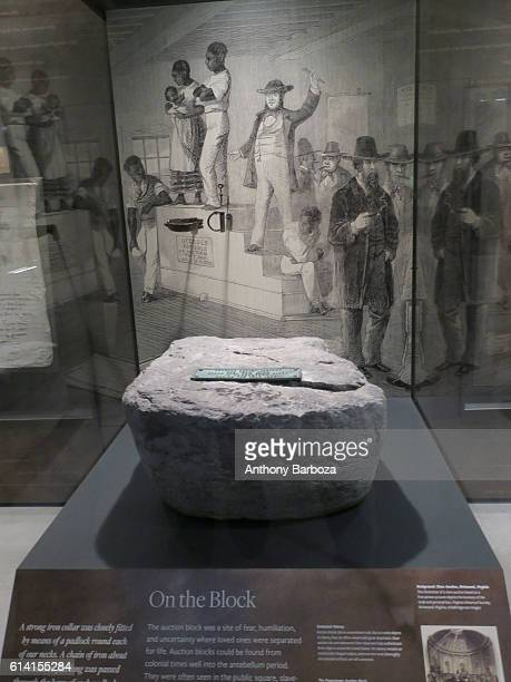 View of a stone auction block display at the National Museum of African American History and Culture Washington DC September 28 2016