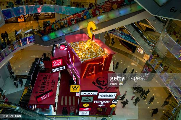 View of a store of Chinese toy maker Pop Mart in a shopping mall on February 17, 2021 in Beijing, China.Native Chinese all across the world are...