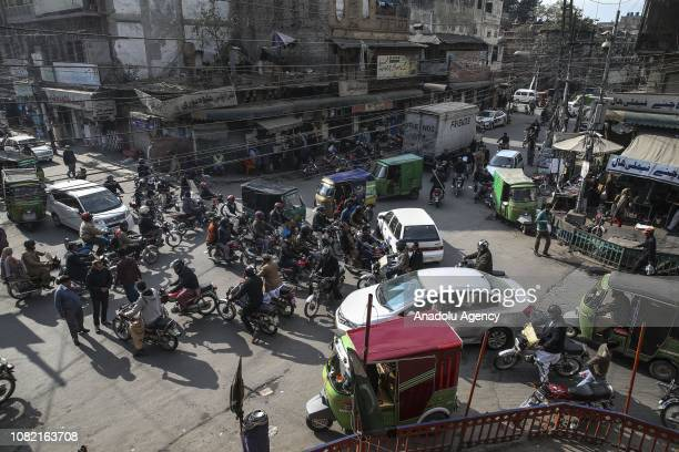 View of a street at Lahore city, the capital of northeastern Punjab province of Pakistan on January 08, 2019. City of Lahore, one of the most...