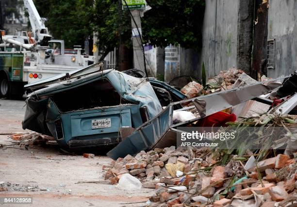 TOPSHOT View of a street at the eastern area of Mexico City after a 82 earthquake on September 8 2017 A powerful 82magnitude earthquake rocked Mexico...
