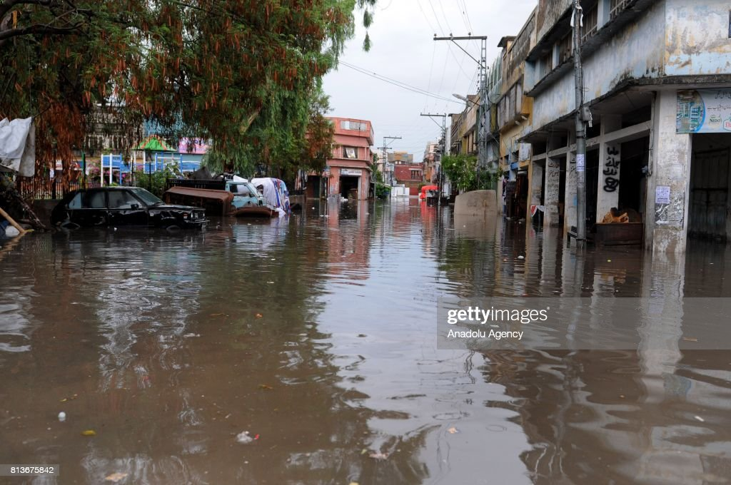 A view of a street during a flood after heavy monsoon rains hit Rawalpindi province of Pakistan on July 13 2017 Heavy monsoon rains flooded streets...
