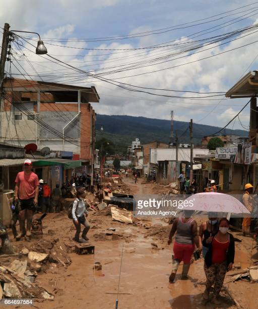 A view of a street in Mocoa after the flood in Putumayo of Colombia on April 03 2017 At least 273 people lost their lives after three rivers in...