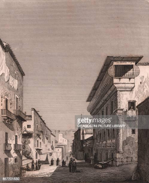 View of a street in Palermo Sicily Italy steel engraving ca 17x135 cm from L'Italia la Sicilia le isole Eolie l'isola d'Elba la Sardegna Malta...