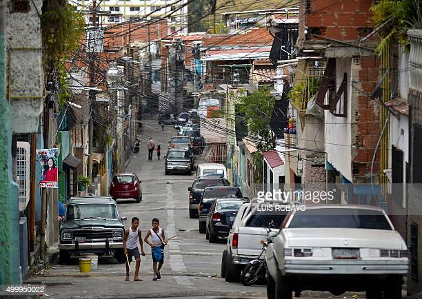 View of a street of the 23 de Enero neighborhood in Caracas on December 4 2015 For the first time in 16 years of 'Bolivarian revolution' under late...