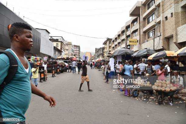 A view of a street on March 26 2018 in Freetown Sierra Leone's electoral body announced on the eve of a presidential runoff on March 26 that the vote...
