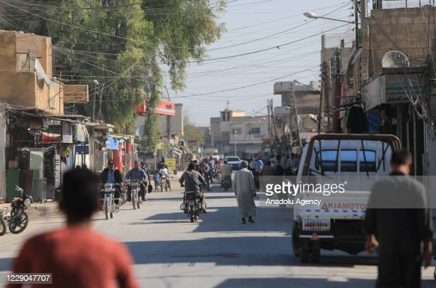 A view of a street on the first year of Operation Peace Spring as life turned to normal in Tal Abyad Syria on October 13 2020 A year on after Turkey...
