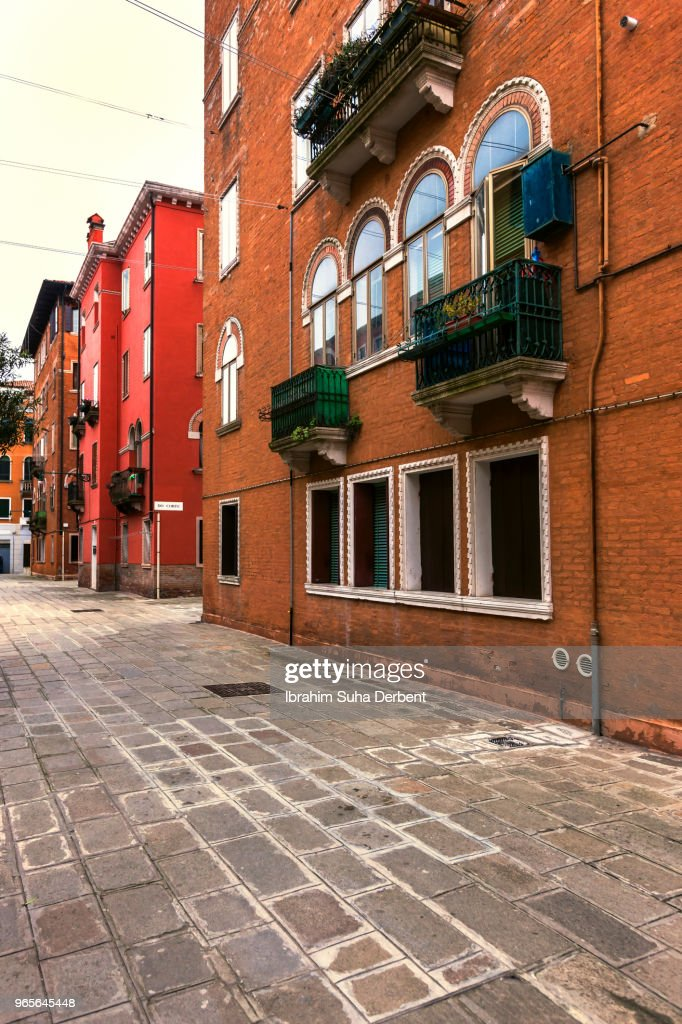 View of a street with beautiful apartments in Venice : Stock Photo