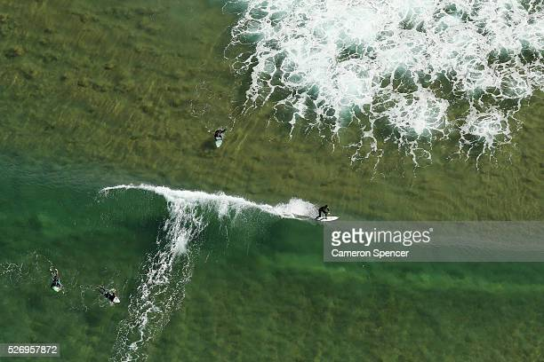 A view of a surfer at North Steyne beach from a blimp on April 28 2016 in Sydney Australia The Appliances Online blimp is the only operational blimp...