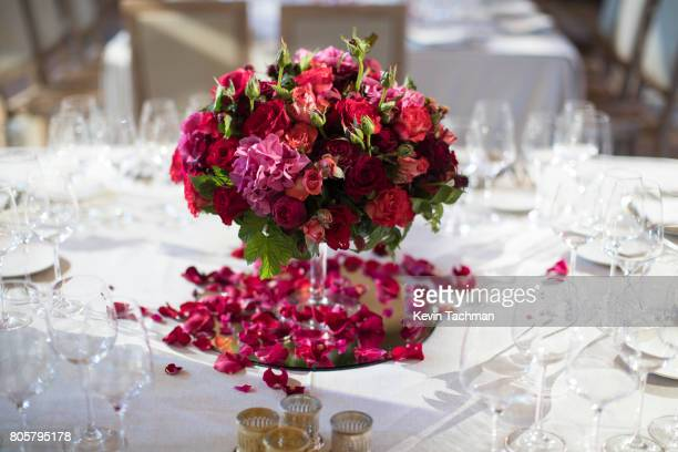 A view of a table set for the amfAR Paris Dinner at Le Petit Palais on July 2 2017 in Paris France