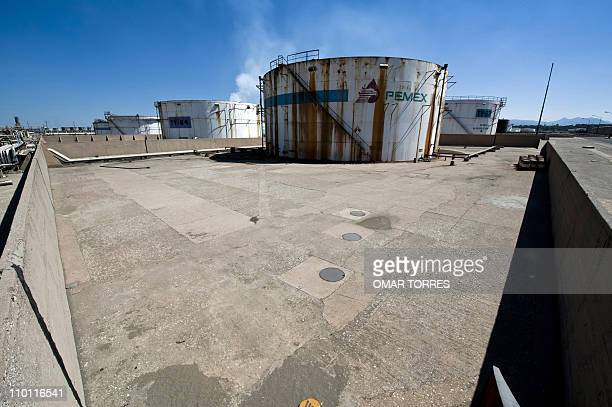 View of a tank with processed oil at Mexican stateowned petroleum company PEMEX refinery in Tula Hidalgo state Mexico on March 8 2011 AFP PHOTO/OMAR...