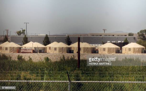View of a temporary detention centre for illegal underage immigrants in Tornillo Texas US near the MexicoUS border as seen from Valle de Juarez in...